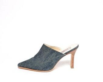 Vintage 90's Blue Denim Mules / Blue Denim Shoes