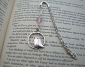 Beaded bookmark bird charm in silver pink beads vintage style