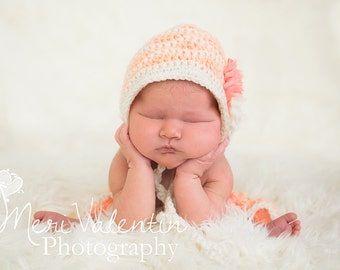 Crochet baby newborn Waves bonnet - pixie or tie 12mo - custom made to order