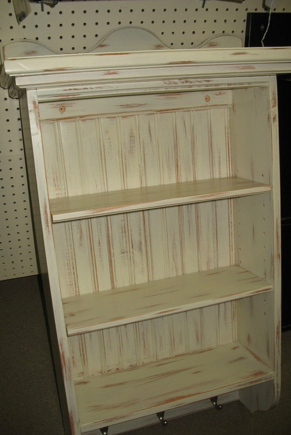 Items similar to Antique White Distressed Wall Cabinet w ...