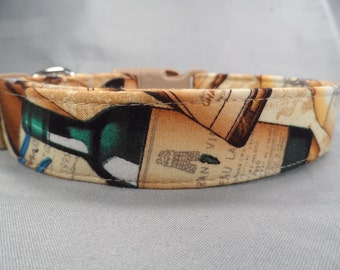 Tan Vintage Wine Dog Collar