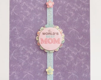 The World's Best Mom - Purple Floral - Mother's Day Card