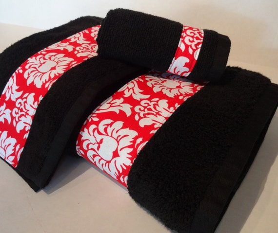 Black And Red Damask Bath Towels Bathroom Towels Red And