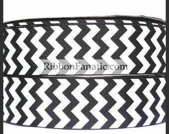 "5 yds 1.5""  Black and White Chevron Striped Stripe Grosgrain Ribbon"
