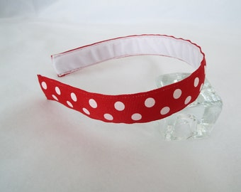 Red with White Polka Dots Headband