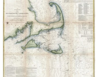 Cape Cod & the Islands - Nautical Map  1857  USCGS    Reprint