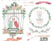"Wedding Clipart pack ""WEDDING FLORAL"" clip art Birdcages,Love Birds,Laurels,Floral Frames,Wreath,Wedding invitaion Instant Download Wd029."