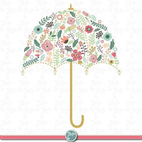 Wedding Clipart Pack WEDDING FLORA UMBRELLA Clip ArtVintage FlowersFloral FramesWreath