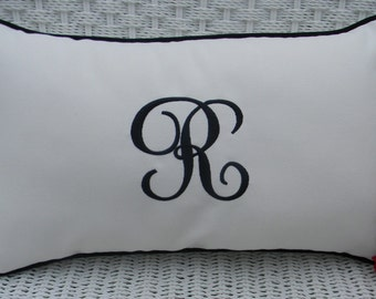 Monogram Initial Indoor / Outdoor Sunbrella Canvas White Fabric With Black Cording Decorative Lumbar / Rectangle Pillow