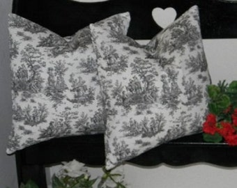 """Set of 2 Pillow Covers - 20"""" Indoor / Outdoor Jamestown Black and White Toile Decorative Square Pillow Covers"""