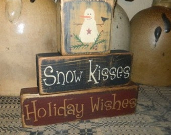Snow Kisses Holiday Wishes block primitive sign
