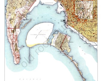 Hand Painted Map of San Diego, California, 1942 / Retro San Diego Map / Vintage San Diego / San Diego Map Art / San Diego Bay Map