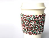 Christmas Cup Sleeve, Cup Cozy, Cup Sleeve, Cup Cosy, Red and Green Coffee Sleeve, Stocking Stuffer