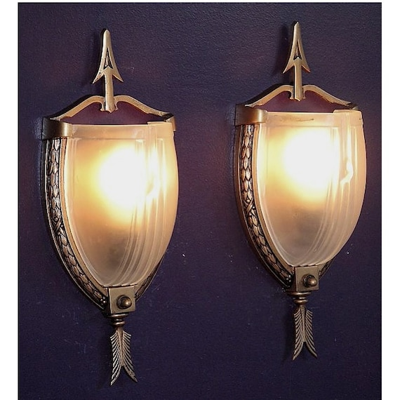 Items Similar To Wall Sconce Lighting: Items Similar To Pair Slip Shade Antique Lighting Wall