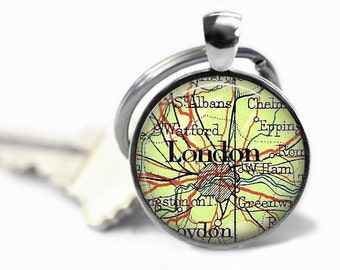London map key ring vintage atlas London keychain England world travel gift.
