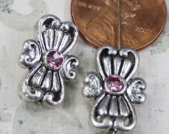 Silver Plate Bead with Pink Swarovski Crystal, 4 Beads, - Item 1302