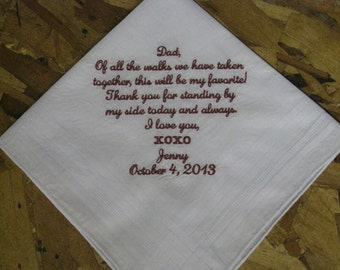 Personalized Wedding Handkerchief - Father of the Bride Hankie - Hanky - Gift for Father of the Bride - Weddings - Bride to Dad