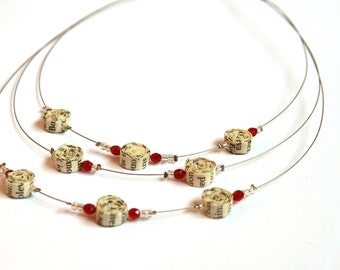 Book Page Paper Bead Necklace