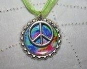 Tie Dyed Peace Sign Necklace, Bottlecap Necklace, Peace Necklace, Peace Sign Party Favor,  Tie Dyed Party Favor, Tie Dyed Necklace, Peace