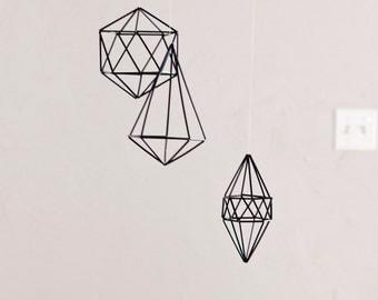 Geometric mobile, gold, silver, black or custom color