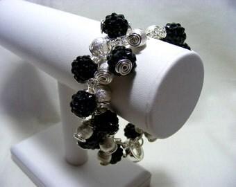 Silver and Black Charm Bracelet