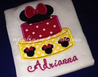 Appliqued Madness Minnie Mouse Birthday Cake Birthday shirt various sizes