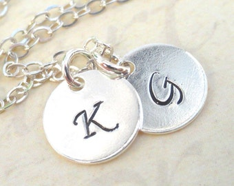 Sterling Silver Double Initial Pendant Necklace Hand Stamped Initials Choose Up six discs