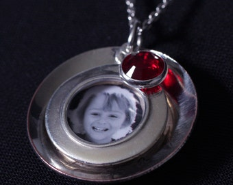 Sterling Silver Custom Photo Pendant and Birthstone Necklace