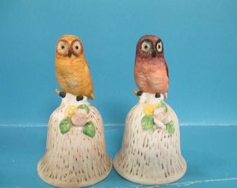 Set of ceramic owl figurine Bells no markings