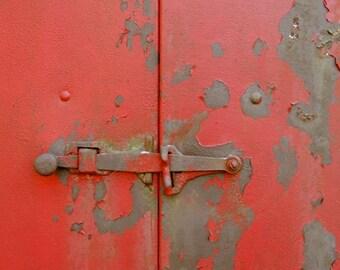 Old Latch -  Rustic Wall Decor - Antique -  Red  Rusty Door photograph - Vintage Door  - Red Door And Latch - Wall Decor - Door Photograph