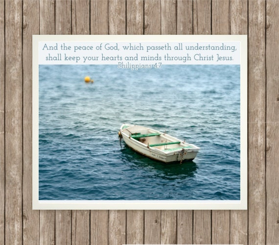 Philippians 4:7, Photography Printable, Instant Download, Scripture Art, Bible Verse, 8x10, Boat Photo, Calming Water, Printable Decor