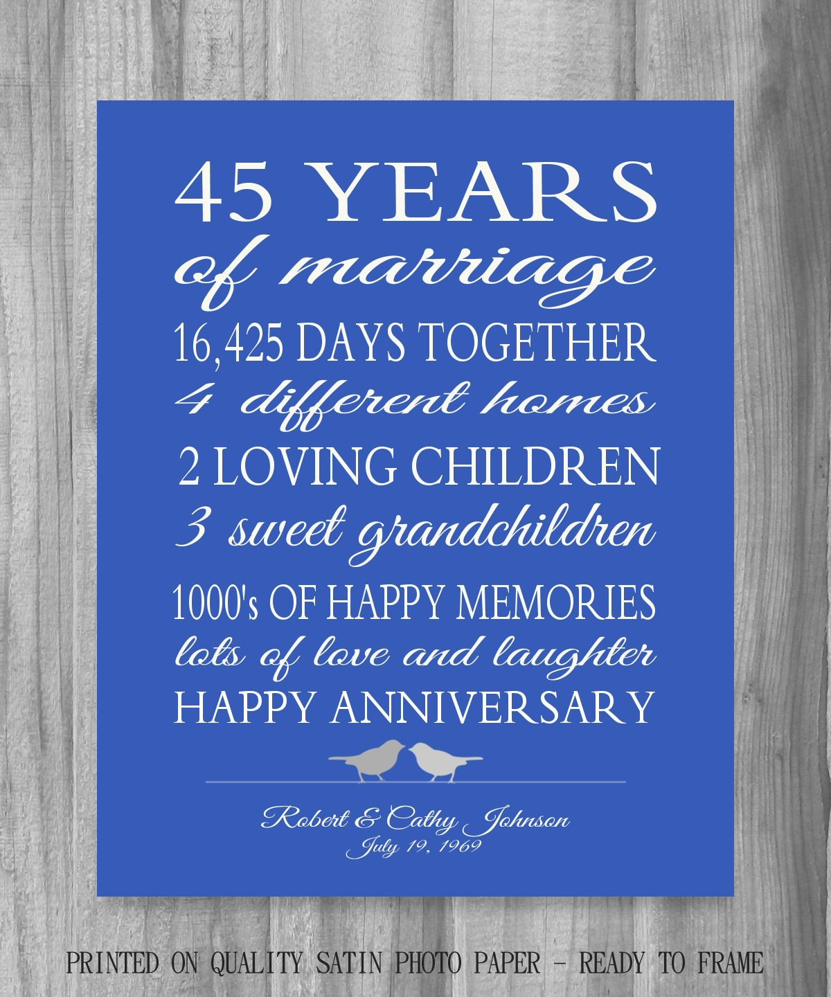 Special Gift For Wedding Anniversary: 45th Anniversary Gift Parents Sapphire Blue Personalized Love