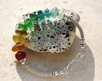 15% OFF.SALE. MULTICOLOR wire wrapped seaglass bracelet.