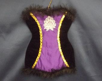 a decorative corset-style lingerie bag