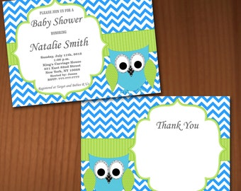 Owl Baby Shower Invitation Boy Baby Shower invitations Printable Baby Shower Invites -FREE Thank You Card - editable pdf Download 560 blue