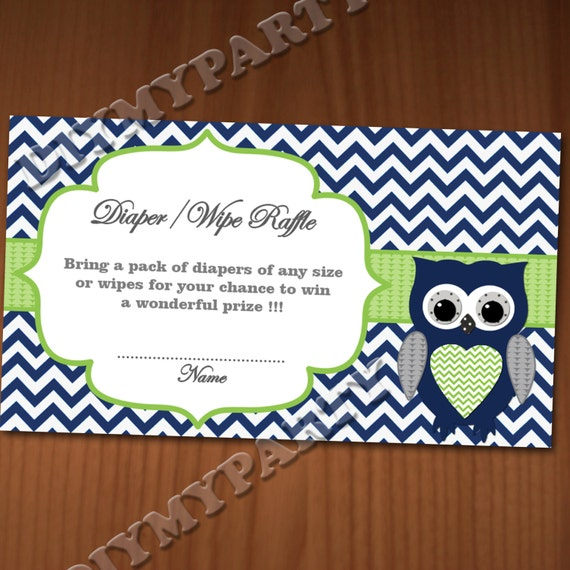 owl baby shower diaper raffle ticket diaper wipe raffle card diapers