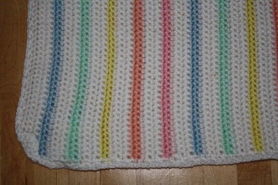 Knit strip afghan