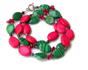 Long Chunky Colorful Handmade Necklace, Emerald Green Fuchsia Pink, Fun Multicolored Hippie Jewelry, Bright Unique OOAK