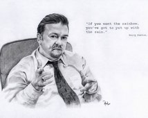 """David Brent. Ricky Gervais/The Office. Pencil drawing 12"""" x 16"""" Print"""