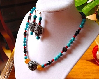 Turquoise, Red Coral, Hematite, Black Onyx and Yellow Amber Agate Necklace with Balinese Focal and Earring Set