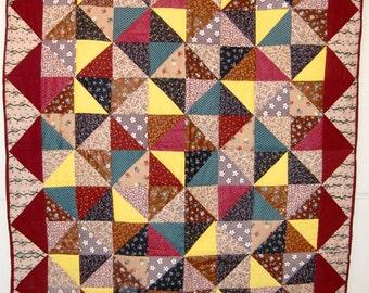 Handmade Lap Quilt, Beautiful Fall Patchwork