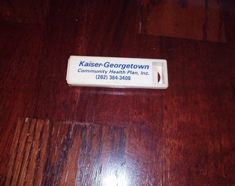 Vintage 1970s plastic Band-Aid Holder w/Logo KAISER-GEORGETOWN of Washington DC & 4 Mini Bandages inside - Very Rare Collectible Pieces