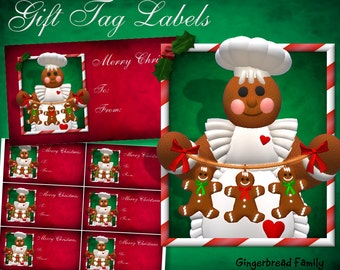"Gingerbread Girl ""Gingerbread Men"" Gift Tag Labels - Digital Download"