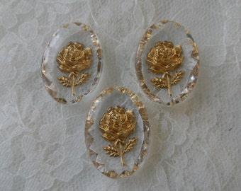 Clear acrylic gold inset roses, 25x13mm,3pcs-CAB258