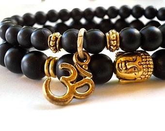 Set of 2 Buddha Om bracelets, Gold Buddha bracelet, Om bracelet, Black Om Buddha bracelets, Agate matte bracelets, Yoga bracelet, Meditation
