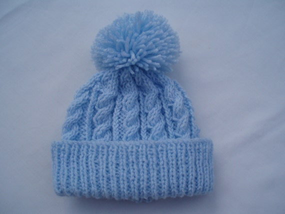 Baby blue hand knitted aran beanie bobble hat adults