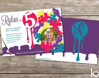 Arts & Crafts Paint Birthday Invitation