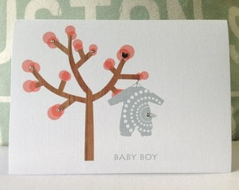 New baby Cards. Baby Shower Invitations . New Baby Announcement . Congratulations Baby Card  - Lovely tree & baby clothes