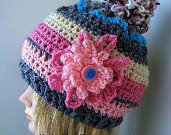 CROCHET PATTERN for a Crochet Touque  so you can  MAKE Baby to Adult, children, toddlers, teens, women, crochet flower, # 654