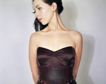 Leather cincher,leather corset belt,waist belt,corset belt,metal studded corset belt,steampunk cincher,goth,studded,wedding,special occasion